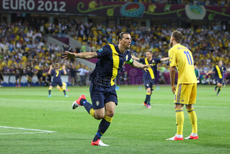 Zlatan Ibrahimovic of Sweden. KYIV, UKRAINE - JUNE 11, 2012: Zlatan Ibrahimovic of Sweden reacts after score against Ukraine during their UEFA EURO 2012 game at stock photo