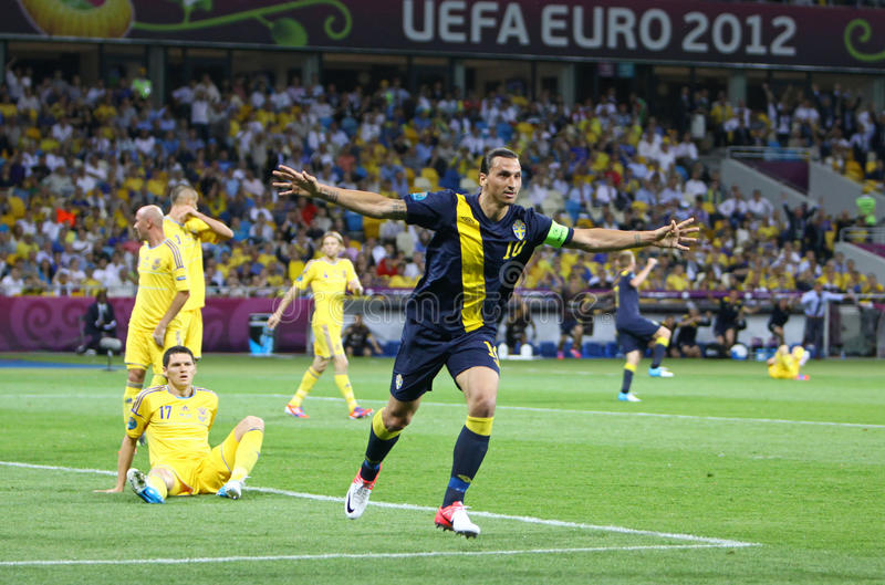 Zlatan Ibrahimovic of Sweden. KYIV, UKRAINE - JUNE 11, 2012: Zlatan Ibrahimovic of Sweden reacts after score against Ukraine during their UEFA EURO 2012 game at royalty free stock image