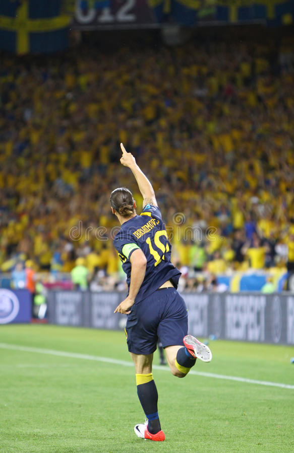 Zlatan Ibrahimovic of Sweden. KYIV, UKRAINE - JUNE 11, 2012: Zlatan Ibrahimovic of Sweden reacts after score against Ukraine during their UEFA EURO 2012 game at stock images