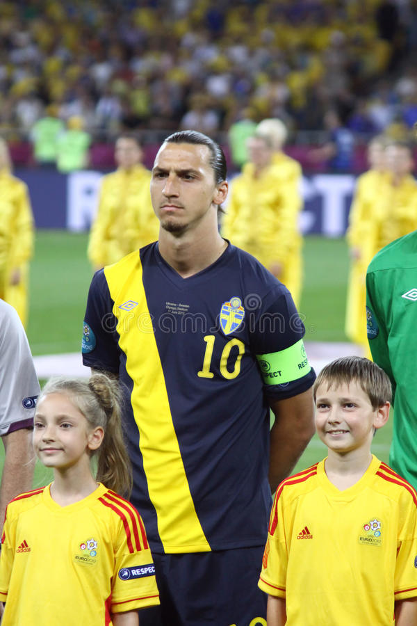 Zlatan Ibrahimovic of Sweden. KYIV, UKRAINE - JUNE 11, 2012: Zlatan Ibrahimovic of Sweden sings the national anthen before UEFA EURO 2012 game against Ukraine at royalty free stock images