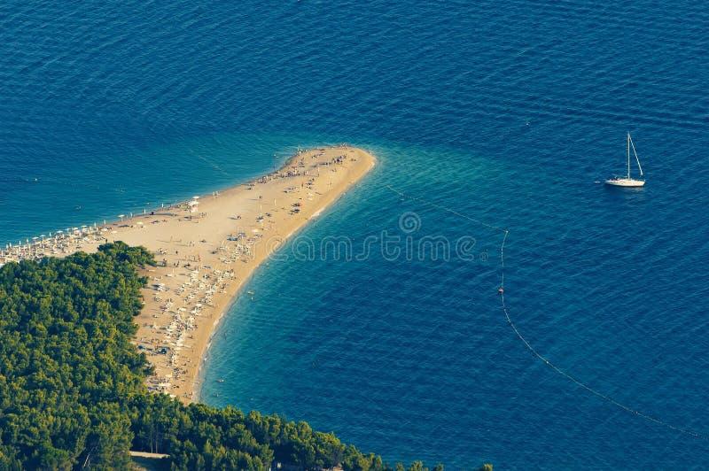 Zlatni在Brac海岛上的鼠半岛在克罗地亚 图库摄影