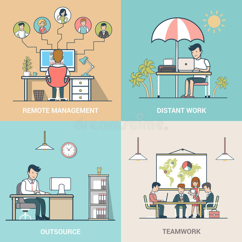 Zlecać na zewnątrz pracy zespołowej Odległej pracy Dalekiego zarządzanie ilustracja wektor