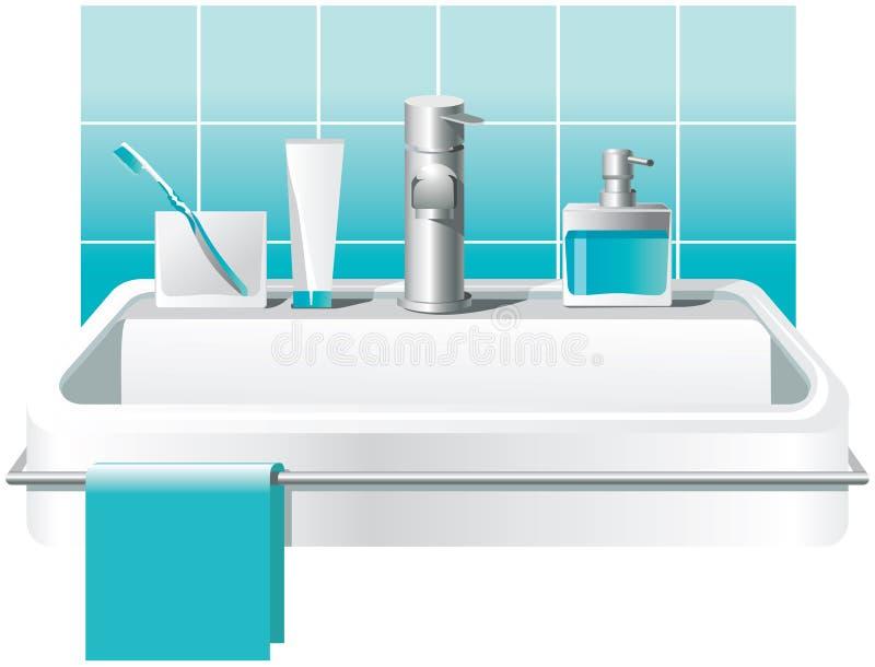 Zlew, faucet i podstawowi kąpielowi akcesoria: mydło, toothbrushes, pasta do zębów 10 tło projekta eps techniki wektor ilustracja wektor