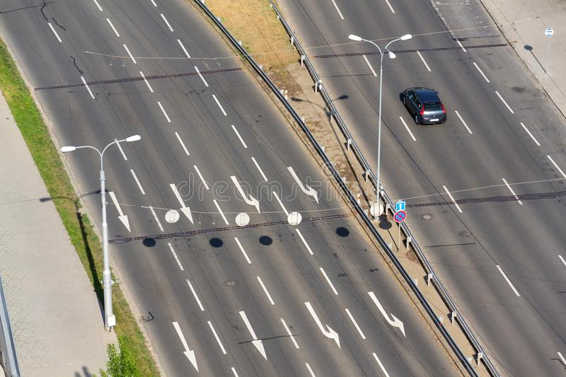 Birds eye view of half-empty road with cars, driverless technology concept. ZLIN, CZECH REPUBLIC - APRIL 29 2018: Birds eye view of half-empty road with cars royalty free stock image