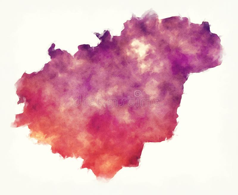 Zlin region watercolor map of Czech Republic in front of a white. Background royalty free stock photo