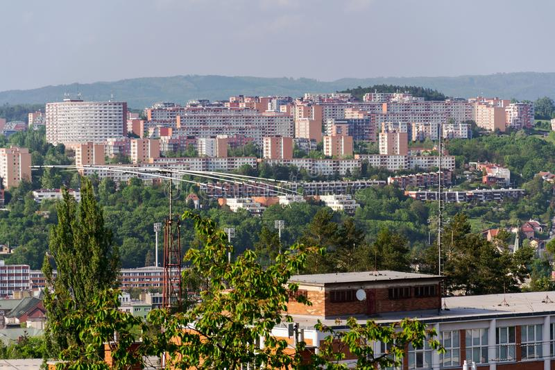 Zlin skyline with segment of southern slopes prefab housing estate, Moravia, Czech Republic. Sunny summer day stock images
