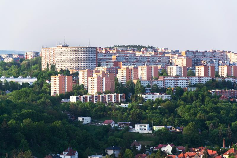 Zlin skyline with segment of southern slopes prefab housing estate, Moravia, Czech Republic. Sunny summer day stock image