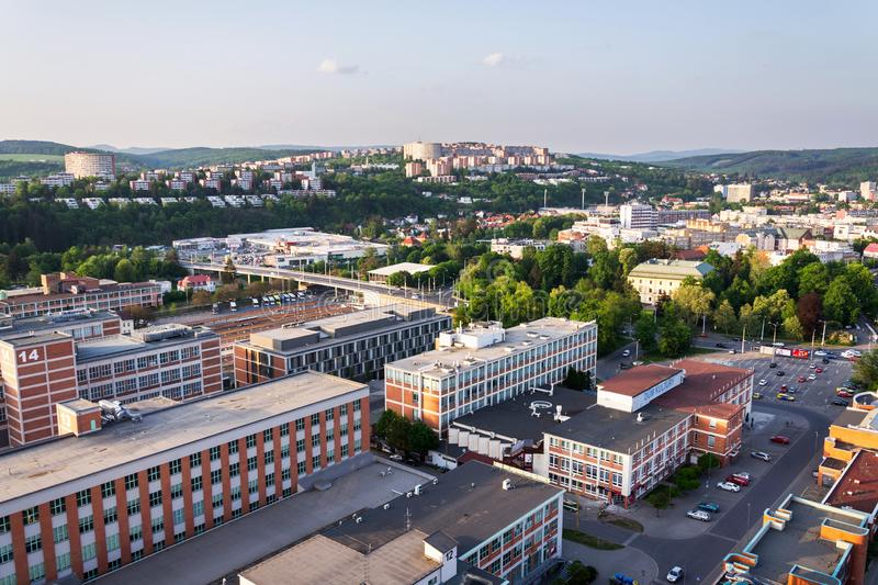 Zlin skyline with segment of southern slopes prefab housing estate, Moravia, Czech Republic. Sunny summer day royalty free stock photography