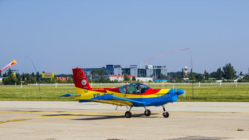 Zlin Z-142 YR-ZCF. Romanian Airclub Zlin Z-142 YR-ZCF after aerobatics at Bucharest International Air Show 2013 stock photography