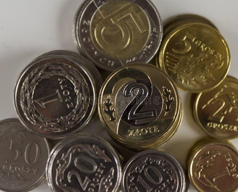 Zlote Zlotowki Польское curency монетки стоковые фотографии rf