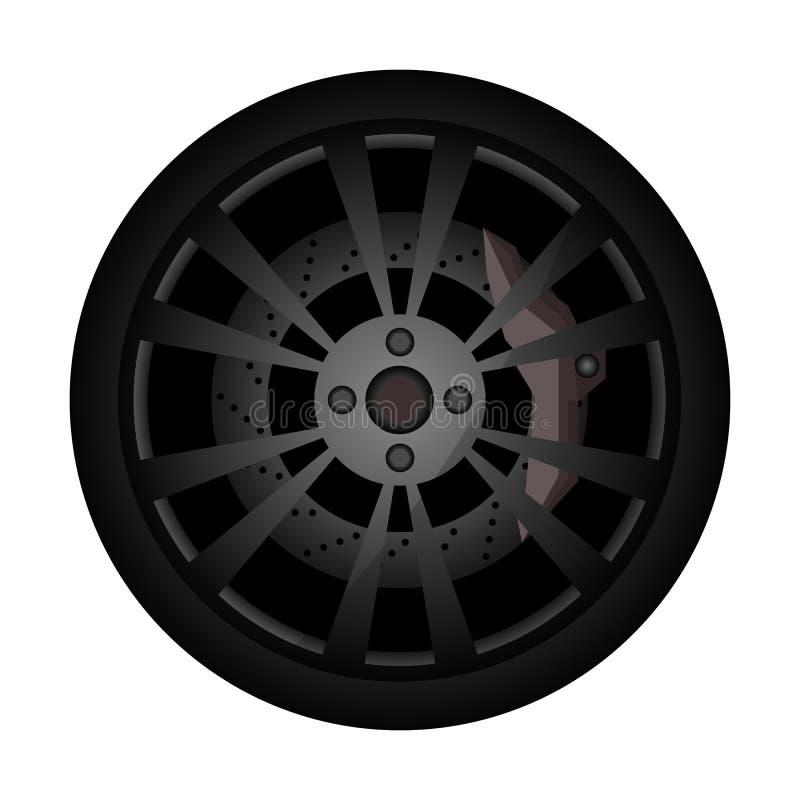 Zlotna samochodowa obręcz ikona ilustracji