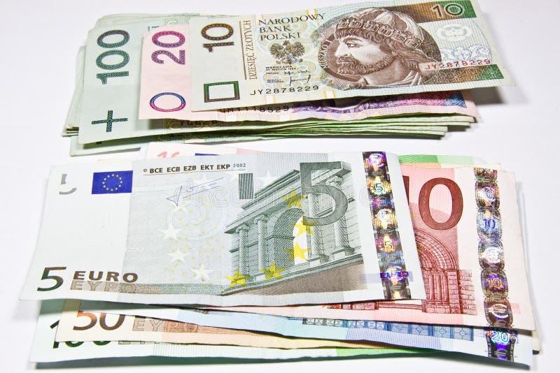 Zloty polacca di valuta e l'euro fotografia stock