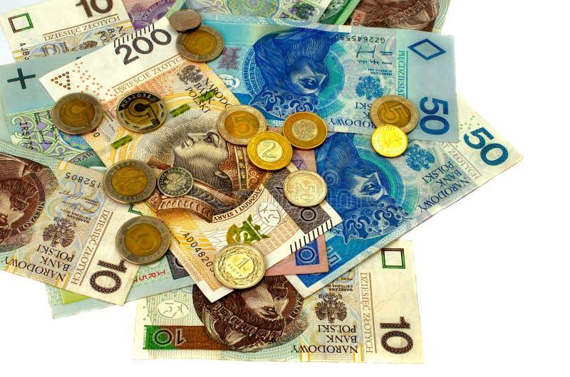 Zloty polacco Molte banconote della denominazione differente fotografia stock