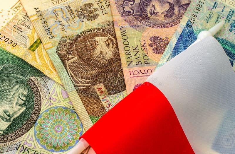 Zloty polacco Molte banconote della denominazione differente immagine stock