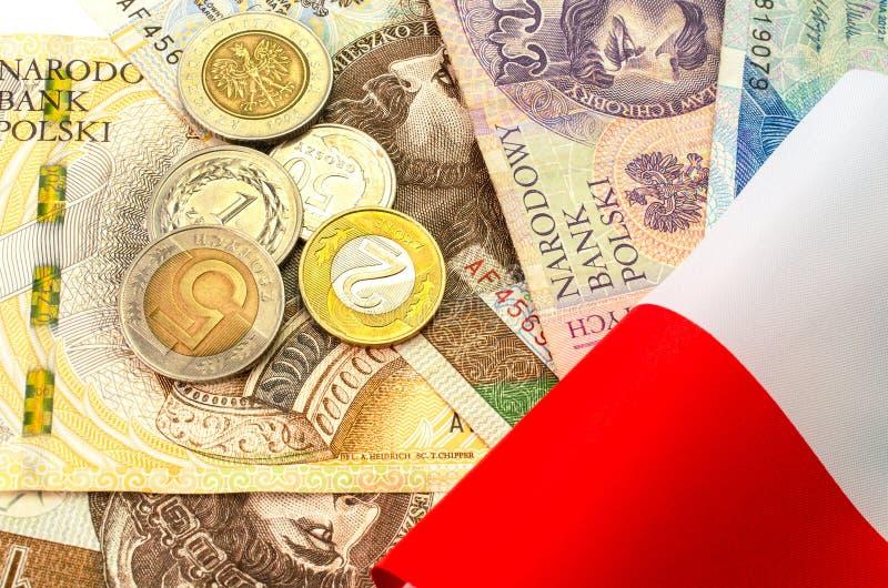 Zloty polacco Molte banconote e monete della denominazione differente immagini stock libere da diritti