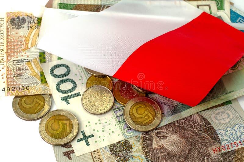 Zloty polacco Molte banconote e monete della denominazione differente fotografia stock libera da diritti