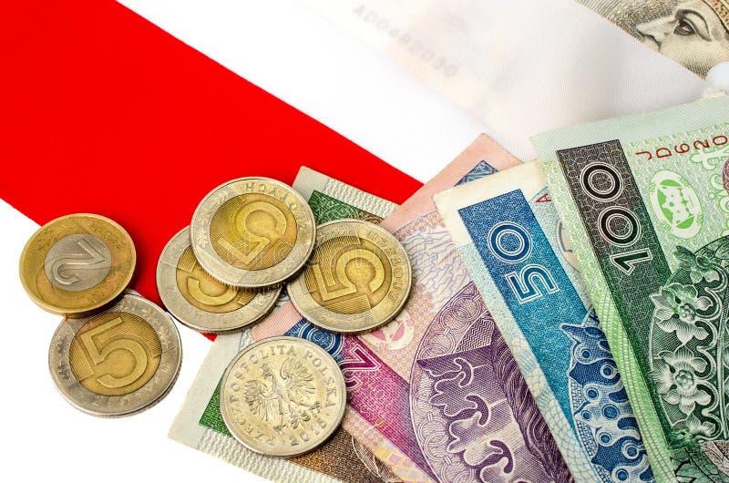Zloty polacco Molte banconote e monete della denominazione differente immagine stock