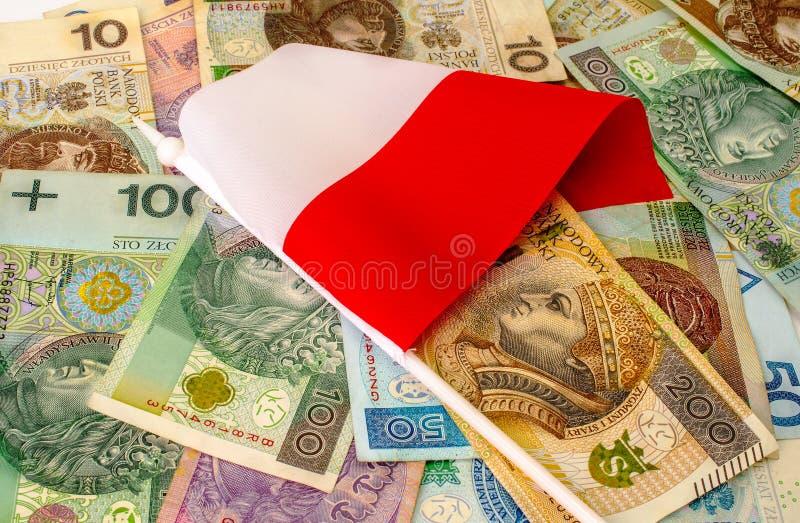 Zloty polacco Molte banconote, monete della denominazione differente fotografia stock