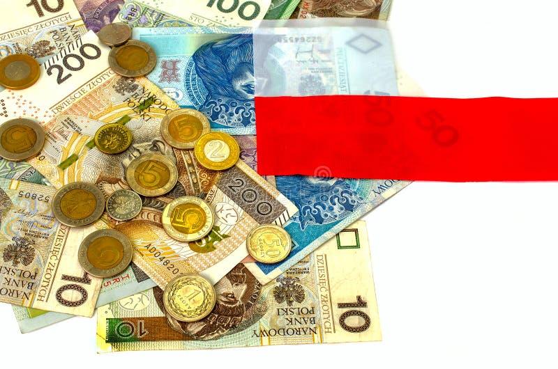Zloty polacco Molte banconote, monete della denominazione differente fotografie stock libere da diritti