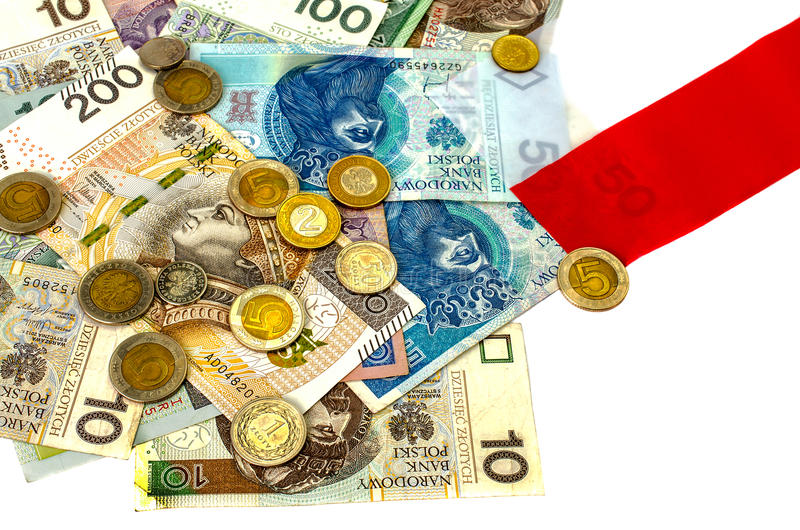 Zloty polacco Molte banconote, monete della denominazione differente fotografie stock
