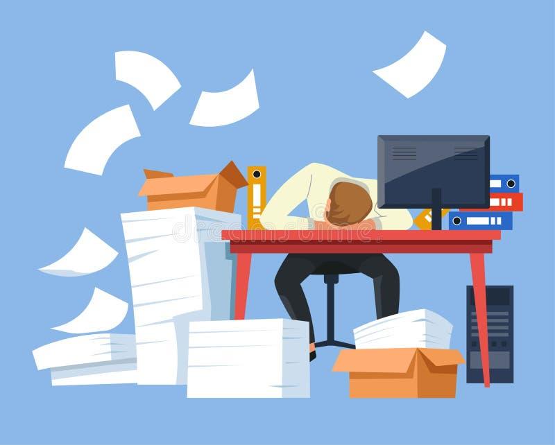 Zmęczeni biznesmen papierkowej roboty biurowego biurka stosy dokumenty royalty ilustracja