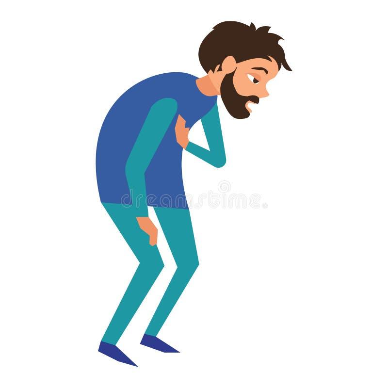 Zmęczenie mężczyzny chora ikona, kreskówka styl ilustracji