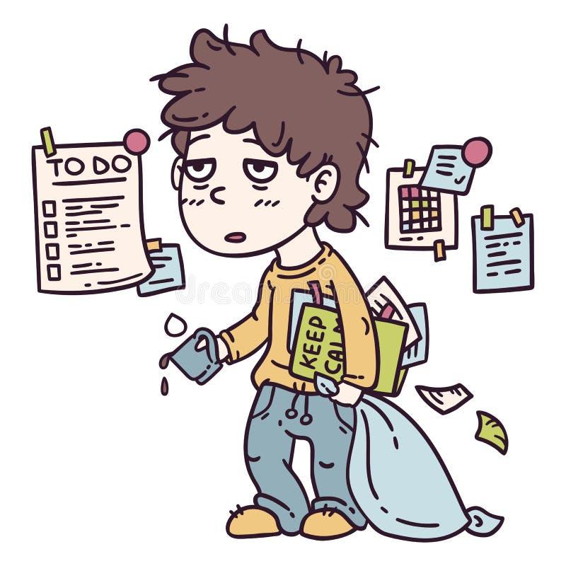 Zmęczona robociarz ilustracja ilustracja wektor
