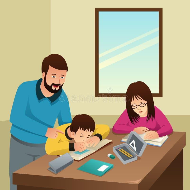 Zmęczeni dzieciaki Studiuje z Ich ojciec ilustracją w domu royalty ilustracja