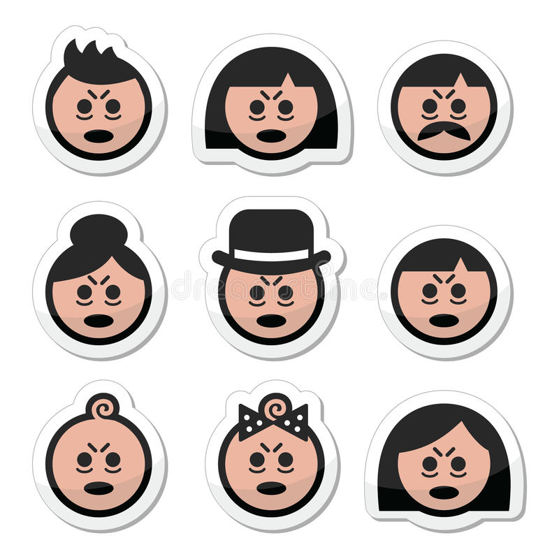 Zmęczeni lub chorzy ludzie twarzy ikon ustawiać ilustracja wektor