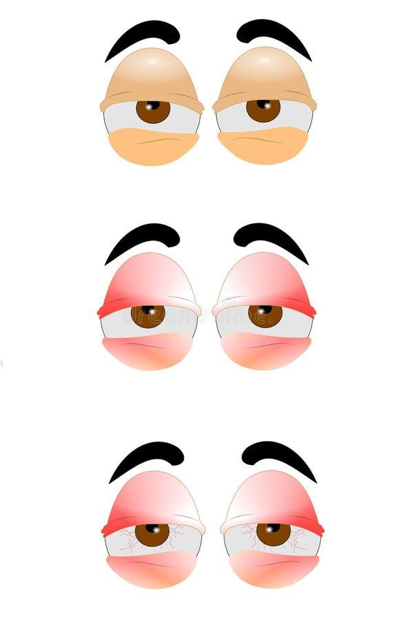 Zmęczeni oczy ilustracja wektor
