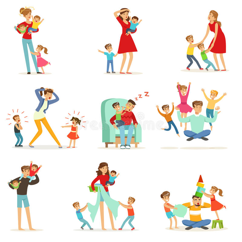 Zmęczeni rodzice i ich dzieci ustawiają, wychowywający stresu wektoru ilustrację royalty ilustracja