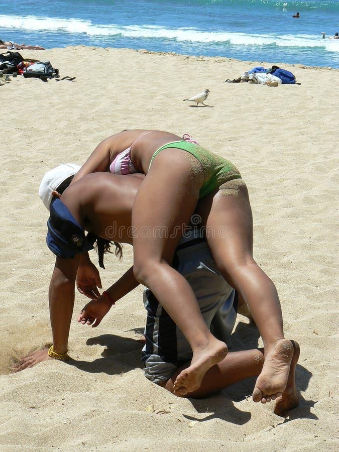 zmęczenie na plaży fotografia stock