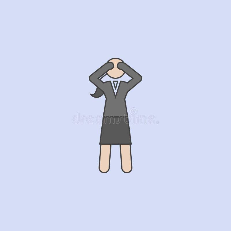 zmęczona biznesowa dama barwiąca kreskowa ikona Prosta barwiona element ilustracja zmęczony biznesowy dama konturu symbolu projek royalty ilustracja