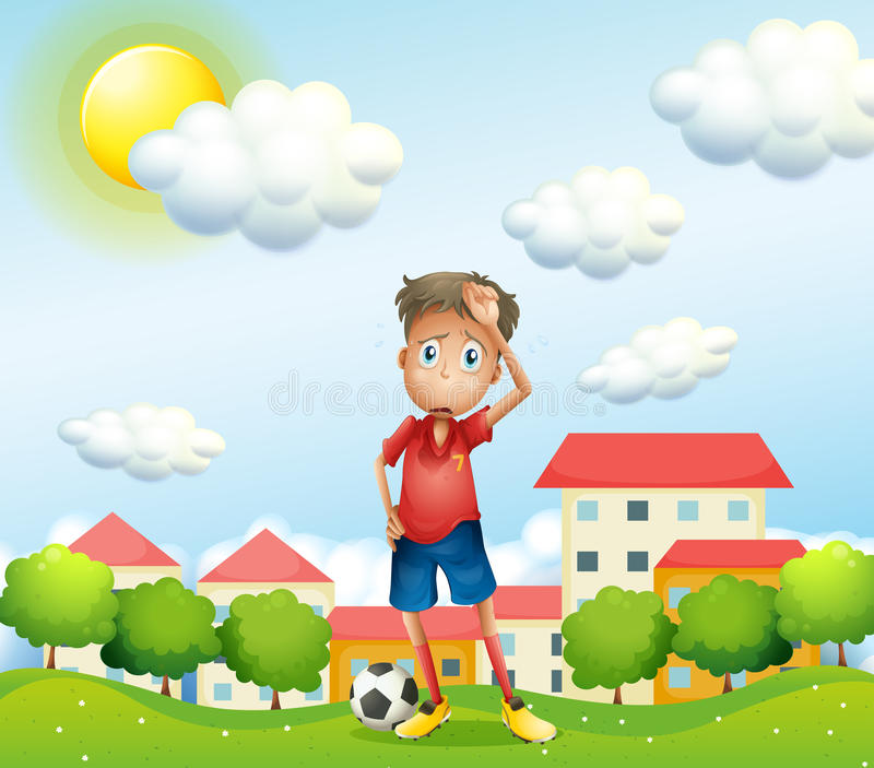 Zmęczona chłopiec pozycja z piłki nożnej piłką ilustracja wektor