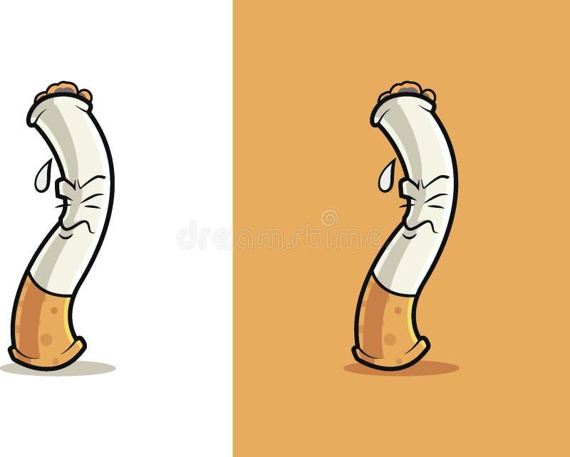 Zmęczona i pocenie papierosu kreskówka ilustracja wektor