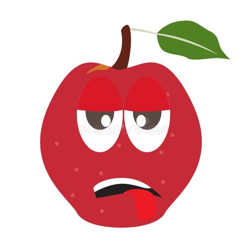 Zm?czona jab?czana kresk?wka ilustracji