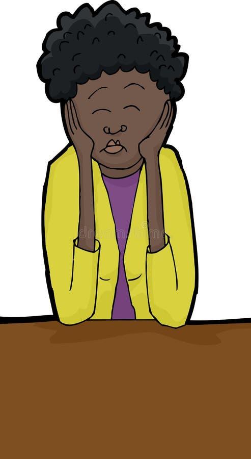 Zmęczona kobieta z łokciami na stole royalty ilustracja