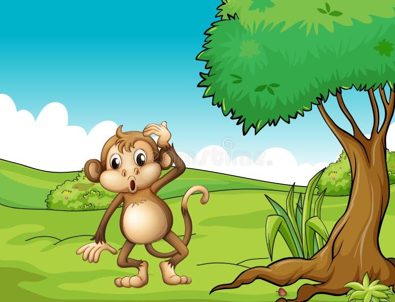 Zmęczona małpa ilustracja wektor