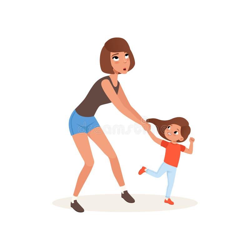 Zmęczona matka i jej córka wychowywa która chce bawić się, stresu pojęcie, związek między dziećmi i rodziców, royalty ilustracja