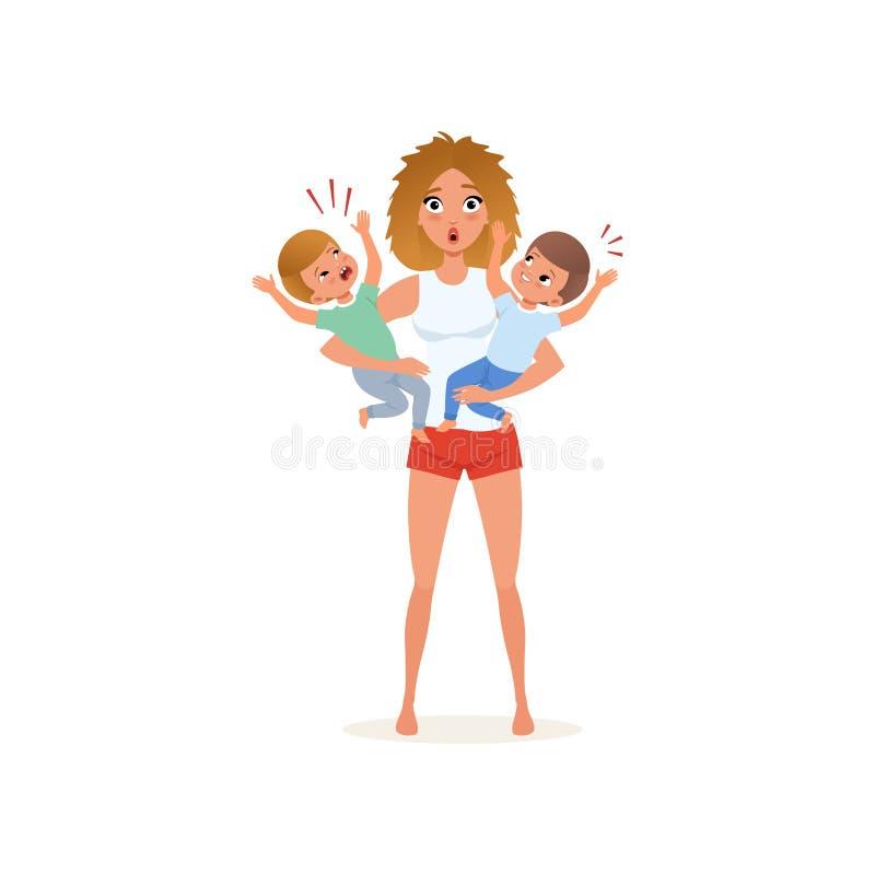 Zmęczona matka i jej płaczów synowie wychowywa, stresu pojęcie, związek między dziećmi i rodziców wektorowych, royalty ilustracja