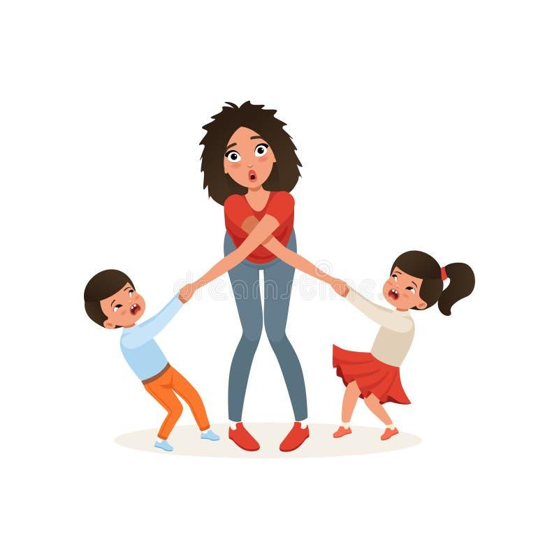 Zmęczona matka z jej zgrymaszonymi dziećmi, wychowywa stres, związek między dziećmi i rodzica pojęcia wektor, ilustracji