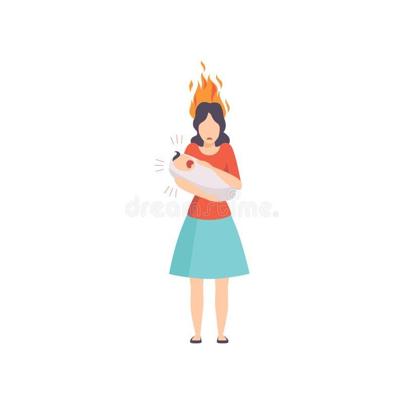 Zmęczona matka z płonącym móżdżkowym mieniem jej krzyczący nowonarodzony dziecko, emocjonalny burnout pojęcie, stres, migrena ilustracja wektor