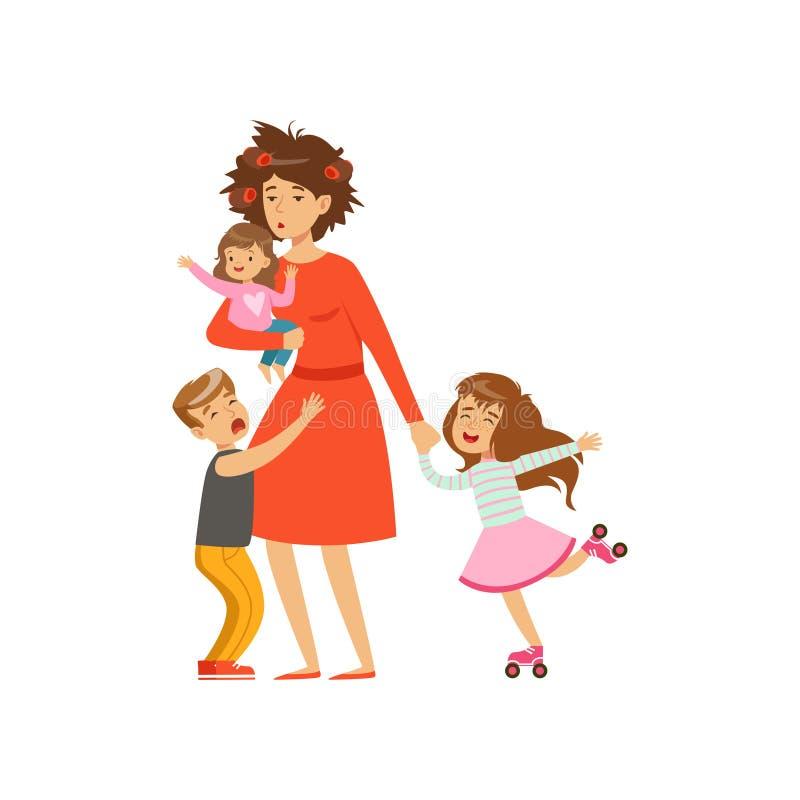 Zmęczona matka z szalonym włosy i jej trzy dzieciaka w kreskówce projektujemy ilustracji