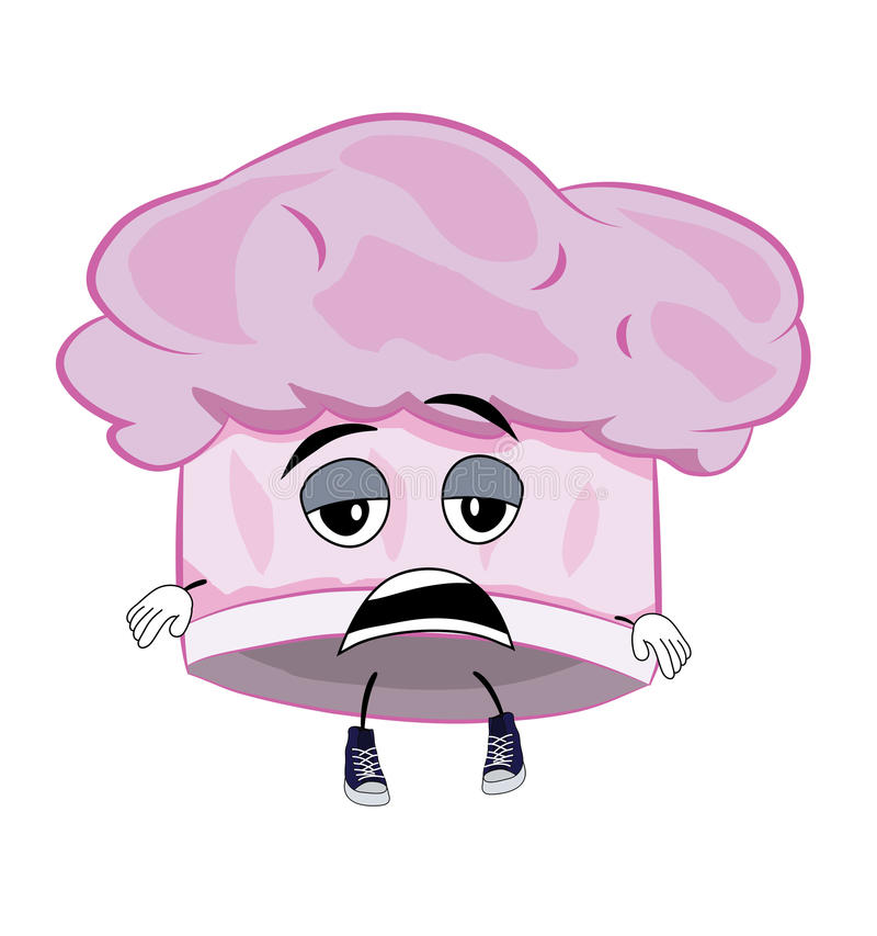 Zmęczona szefa kuchni kapeluszu kreskówka ilustracja wektor