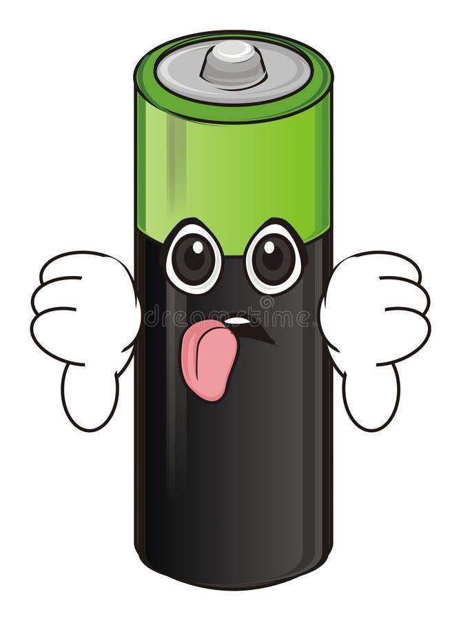 Zmęczona twarz bateria z gestem ilustracji