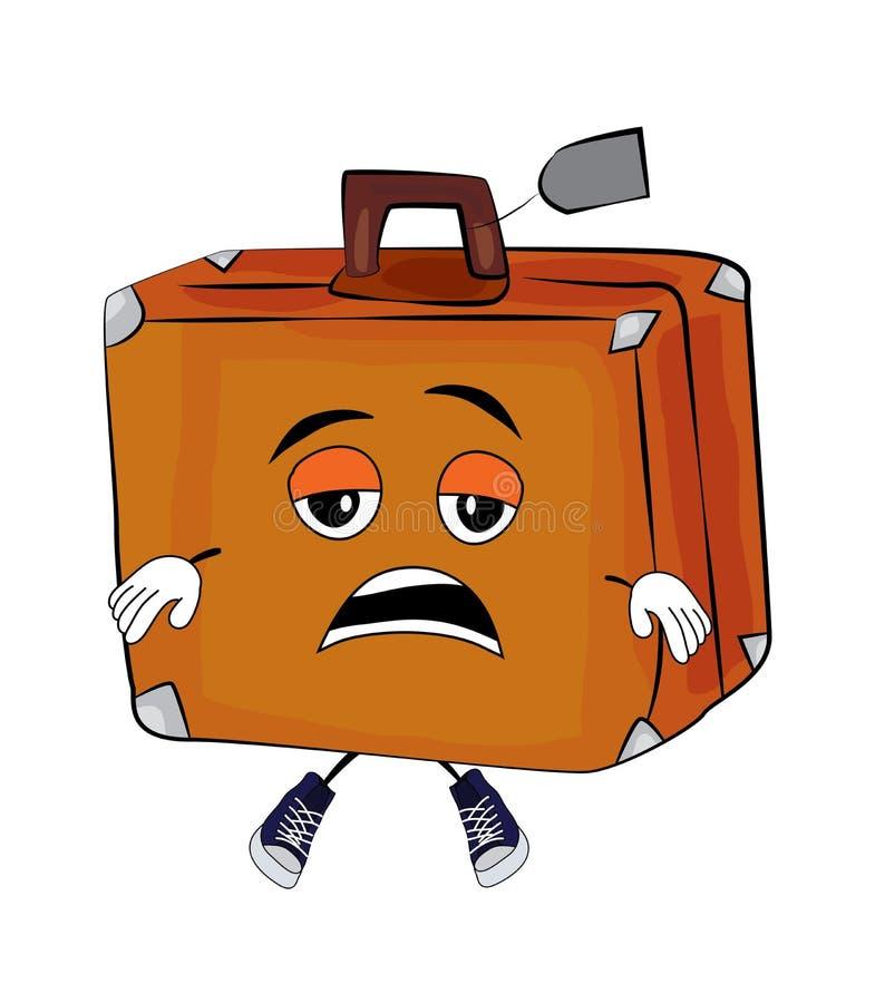 Zmęczona walizki kreskówka ilustracji