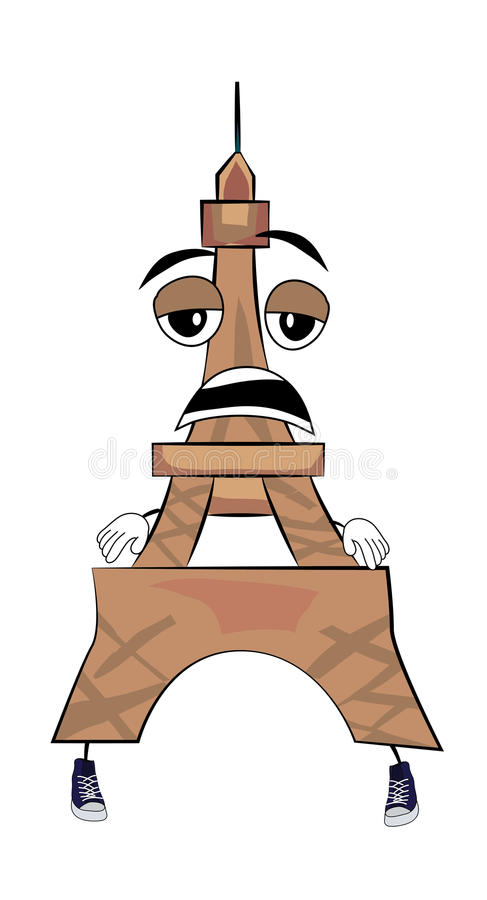 Zmęczona wieży eifla kreskówka ilustracja wektor