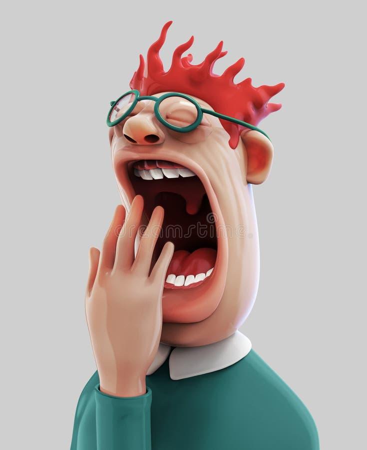 Zmęczona ziewanie mężczyzna 3D ilustracja ilustracja wektor