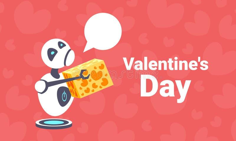 Zmęczonego robota mienia prezenta pudełka teraźniejszości valentines dnia pojęcia gadki szczęśliwego bąbla komunikacyjna sztuczna royalty ilustracja