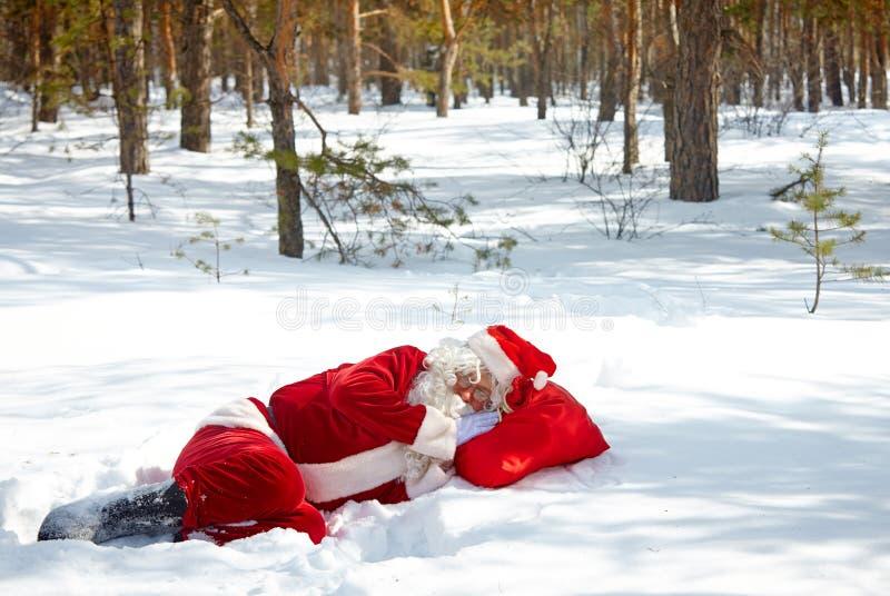 Zmęczony Święty Mikołaj obrazy stock